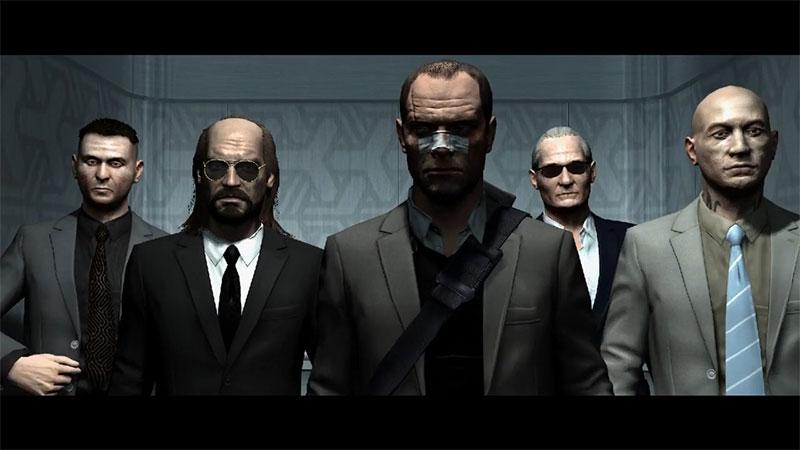 Kane dan Lynch keluar dari elevator bersama teman-teman ragtag-nya